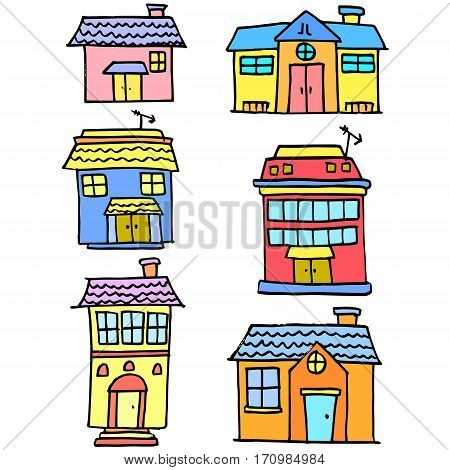 Vector illustration of house set various collection stock