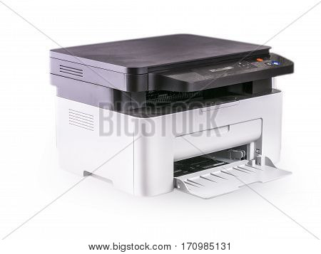 Multifunction printer isolated on white. High quality clipping path included