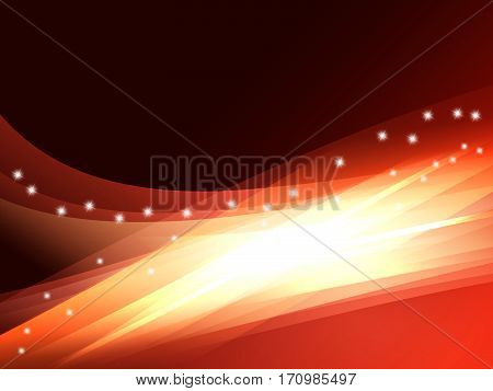 Beautiful red vector light effect of neon glow and flash. Abstract background with flying design elements.