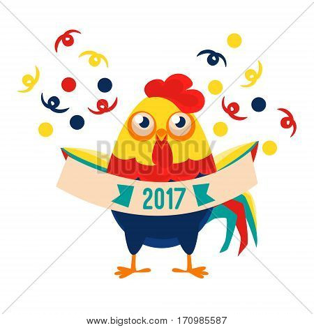 Rooster Cartoon Character Holding Festive Banner With Confetti Falling Around, Cock Representing Chinese Zodiac Symbol Of New Year 2017. Asian Astrologic Yearly Mascot Animal Vector Flat Illustration.