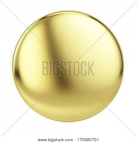 Gold badge pin brooch isolated on white mock-up. 3d rendering