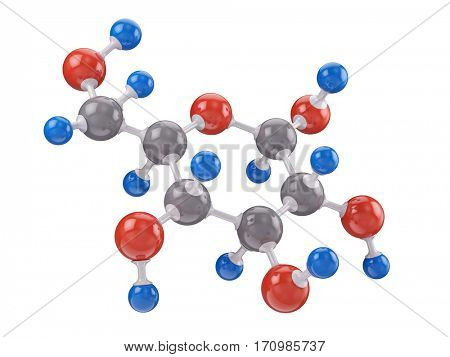 Molecule of glucose isolated on white - 3d render
