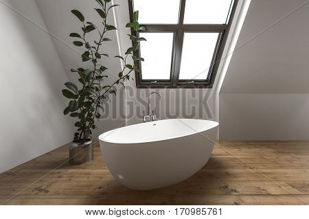 Contemporary attic bathroom with simple tub under slanted window near house plant. 3d Rendering.