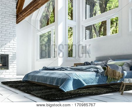 Close-up of bed on carpet with blue bedclothes, in bright white room with big windows and wooden beams ceiling. Minimalist interior design. 3d rendering.