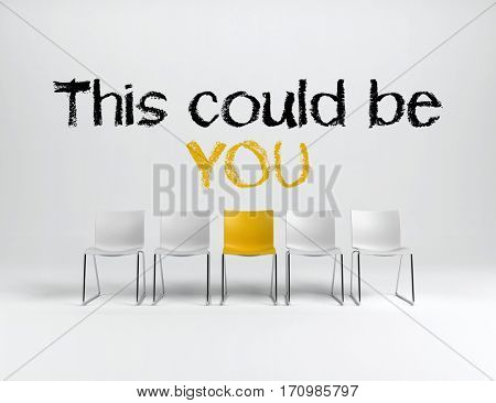 This could be you employment or achievement concept with hand written text above a single yellow chair in a line of white ones over a white background. 3d rendering.