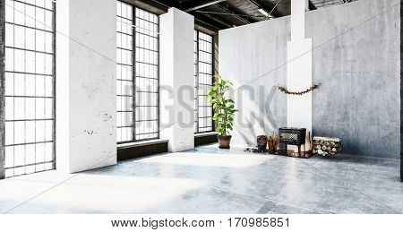 Large bright room with concrete wall and floor. Includes small wood stove fireplace and houseplant. 3d Rendering.