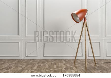 Retro style red tripod floor lamp in a classic interior with patterned parquet flooring and wood paneling on the wall, plenty of copy space, 3d rendering