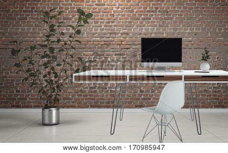 Computer desk on thin wire legs with chair and plant on white wooden floor against brick wall background. 3d Rendering.