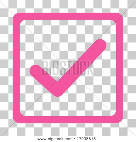 Checkbox icon. Vector illustration style is flat iconic symbol pink color transparent background. Designed for web and software interfaces.