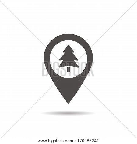 Forest location icon. Drop shadow wood silhouette symbol. Fir tree inside pinpoint. Negative space. Vector isolated illustration