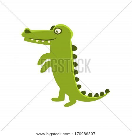 Crocodile Smiling Standing Upright, Cartoon Character And His Everyday Wild Animal Activity Illustration. Green Alligator Reptile Vector Drawing In Childish Cute