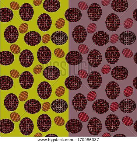 seamless pattern of ovals with red and orange patterns on a green and dark pink background