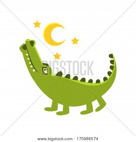 Romantic Crocodile Walking Under Night Sky, Cartoon Character And His Everyday Wild Animal Activity Illustration. Green Alligator Reptile Vector Drawing In Childish Cute