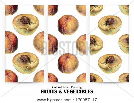 Set of seamless patterns with orange peaches drawn by hand with colored pencil. Healthy vegan food. Fresh tasty fruits painted from nature