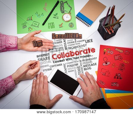 Collaborate Teamwork Partnership Concept. The meeting at the white office table.
