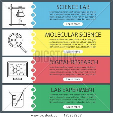 Science laboratory banner templates set. Easy to edit. Beaker, molecular science and analysis, ring stand with flask. Website menu items. Color web banner. Vector headers design concepts