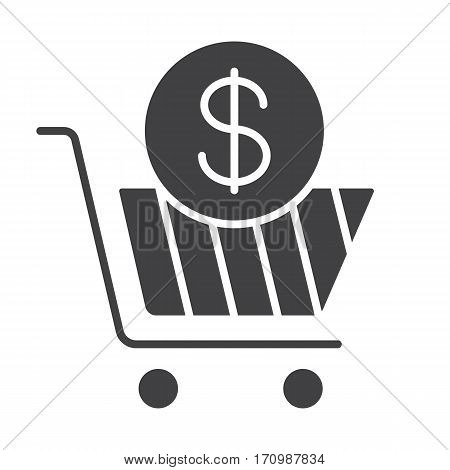 Add to cart icon. Buy silhouette symbol with dollar sign. Negative space. Vector isolated illustration
