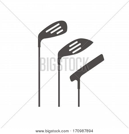 Golf clubs icon. Silhouette symbol. Negative space. Vector isolated illustration