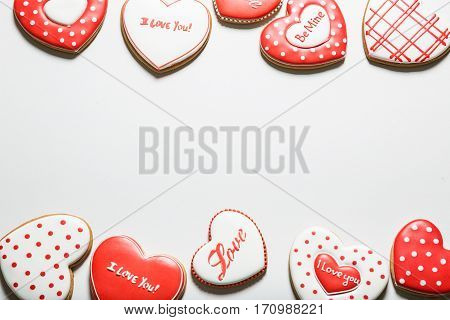 Beautiful Hearts Gingerbread Cookie. Concept The Feast Day Of Holiday Valentine's Day, Mother's Day.
