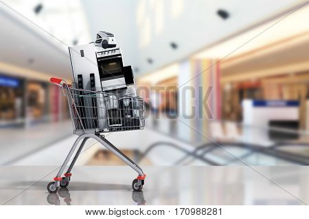 Home Appliances In The Shopping Cart E-commerce Or Online Shopping Concept 3D Render In Marcet
