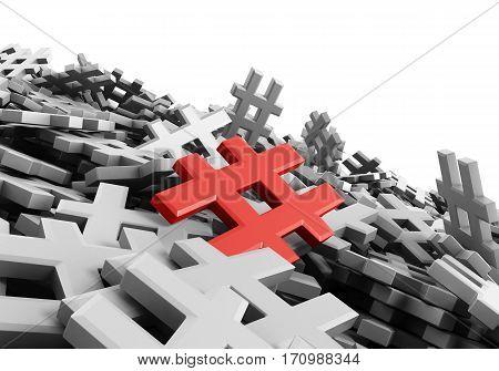 Infinite Red Hashtag On A Plane Original 3D Rendering Illustration