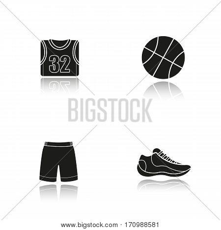 Basketball drop shadow black icons set. Ball, shoe, t-shirt, shorts. Basketball player's uniform. Isolated vector illustrations