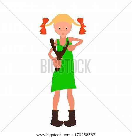 Vector cartoon angry girl in a green dress with a slingshot in hand
