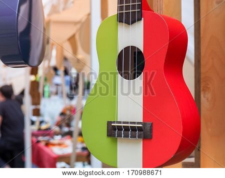 Colorful of hawaiian ukulele guitar with four strings