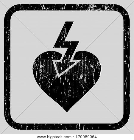 Heart Shock Strike rubber watermark. Vector pictogram symbol inside rounded rectangle with grunge design and scratched texture. Stamp seal illustration.