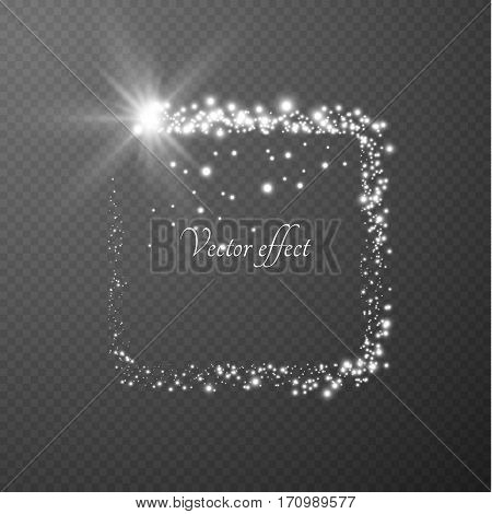 Shining rectangular frame on checkered layer vector effect background.