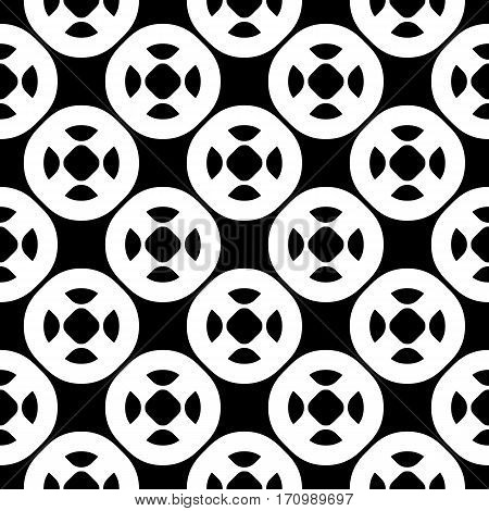 Vector seamless pattern with simple geometric figures. Black & white illustration, perforated circles. Endless abstract background, repeat tiles. Modern monochrome texture. Design for prints, decoration, textile, fabric, furniture, cloth, digital, web