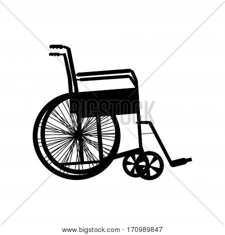 Wheelchair silhouette isolated on white vector illustration.