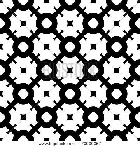 Vector seamless pattern, simple abstract black & white texture. Smooth geometric figures, illustration of lattice. Endless monochrome repeat background. Design for prints, decoration, textile, digital, web