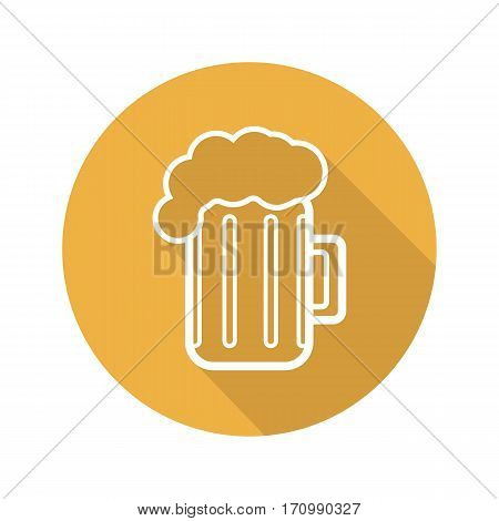 Beer mug flat linear long shadow icon. Pub and bar sign. Foamy beer glass. Cheers. Vector line symbol