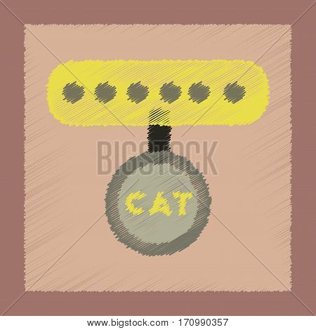 flat shading style icon of cat collar