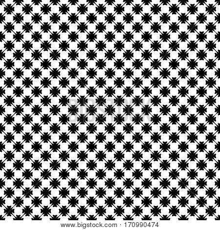 Vector monochrome seamless pattern. Abstract black & white geometric texture in oriental style. Endless ornamental background, illustration of lattice. Repeat design for prints, textile, decoration, furniture, fabric, cloth, digital, web