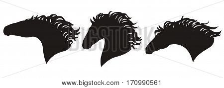 Vector horse head silhouettes set. Isolated group of a horses faces black on white