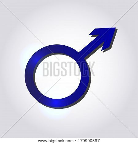 Male symbol in blue colors on grey background. Men's concept.