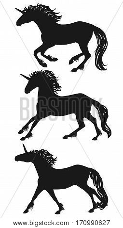Vector running unicorn silhouettes set. Isolated galloping group of a unicorns black on white