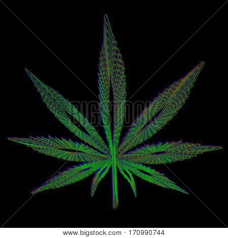 Leaf of marijuana made in blue green red colors on black background.