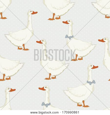 Seamless pattern with cute geese in vector