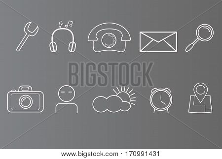 Set of icons on phone smart phone white icons on grey background set of simple icons.