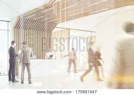 People in room with reception counter with two laptops. Meeting room with glass walls behind it. Brown pipes are lowering from the ceiling. 3d rendering. Mock up. Toned image. Double exposure.