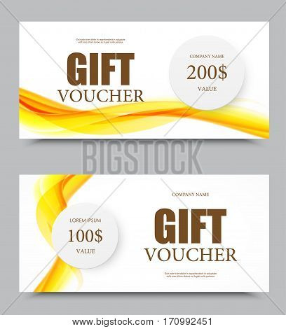 Gift company voucher template on two and five hundred dollars with gray paper circles and orange wavy soft curved lines pattern. Vector illustration