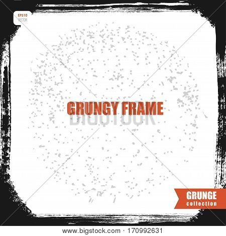 vector grunge frame with chamfer corners, black retro photo frame