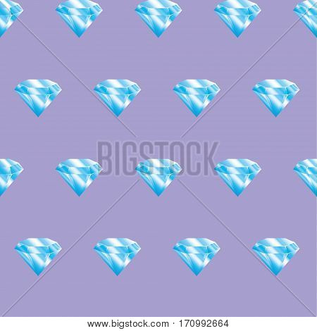 Seamless pattern blue diamonds on violet background. Brilliants.