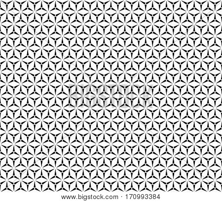Vector seamless pattern, simple geometric triangular texture. Illustration of windmills, fans. Abstract black & white endless background, repeat tiles. Design element for prints, decoration, textile, furniture, digital, web