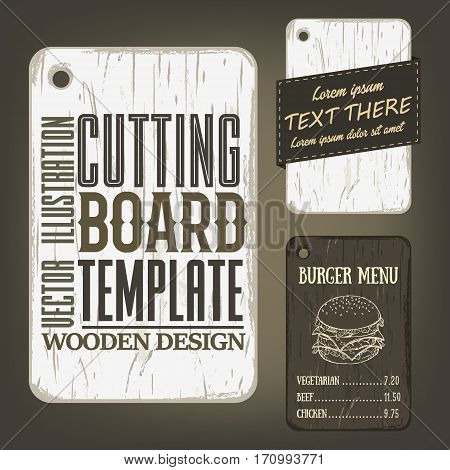 Wood cutting board template with usage examples. Vector illustration with rectangular textured plank used as mockup for label, logo, card, poster, advertising bar or pizzeria menu.