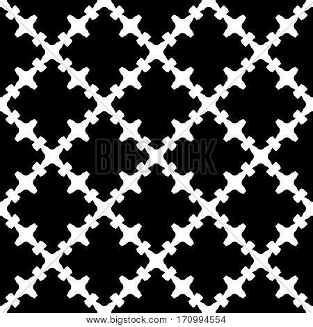 Vector monochrome seamless pattern. Abstract black & white texture with curved geometric shapes, barbed figures. Repeat tiles. Endless ornamental background, gothic style. Design for decoration, prints, textile, fabric, clothes