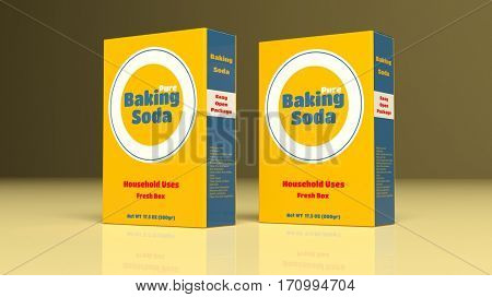 Baking soda paper packages on colored background. 3d illustration